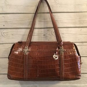 Brighton Brown Leather Moc Croc Handbag | GC| $40